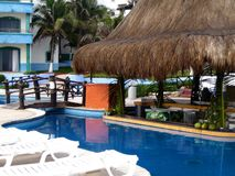 Tropical Holiday hotel  mexico beach time pool garden. Architecture Stock Photography