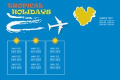 Tropical holidays concept with an airplane flying over the islan stock photography
