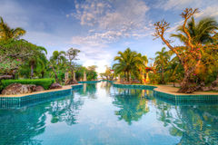 Tropical holidays in Thailand. Swimming pool in tropical scenery of Thailand Stock Image