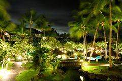 Tropical Hotel. The night view of the typical hotel in Bail Royalty Free Stock Image