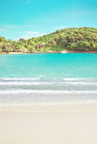 Tropical hotel beach near island Royalty Free Stock Images