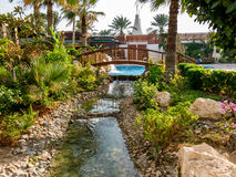 Tropical hotel beach resort in Dubai Royalty Free Stock Images