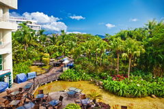 Tropical hotel with beautiful garden Stock Photography