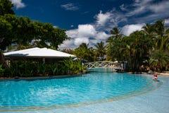 Tropical hotel pool bar stock image