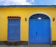 Tropical house facade in trinidad, cuba Royalty Free Stock Photo