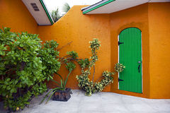 Tropic Orange House with Plants. A tropical house with a green door is surrounded by plants Stock Images