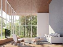 Tropical house living room 3d render stock illustration