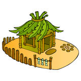 Bungalow. Tropical house. Vacation on island. Vector illustration Stock Image