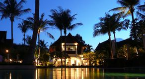 Tropical House by the water Royalty Free Stock Photography