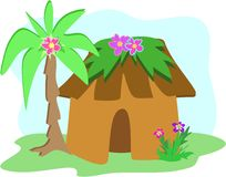 Tropical Hut with Palm Tree Stock Photography