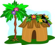 Tropical Hut, Palm Tree, and Toucan Royalty Free Stock Images