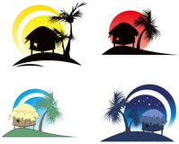 Tropical huts with palm tree Stock Image