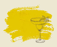 Tropical iced cocktail with mint on yellow background Stock Photography