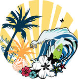 Tropical illustration. Illustration on summer theme with wave, palm trees, butterflys, flowers and seashell Stock Photo