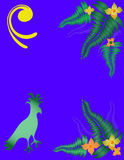 Tropical Illustration. Tropical bird, fern and flowers over a blue background Stock Photography