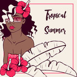 Tropical illustration with dark-skinned woman Stock Photos