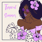 Tropical illustration with dark-skinned woman Stock Images