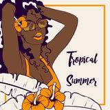 Tropical illustration with dark-skinned woman. Tropical line art illustration of a curly haired brown-skinned woman surrounded by hibiscus flowers. Graphics are royalty free illustration