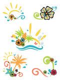 Tropical illustrations. Five illustrations on summer theme Stock Photos