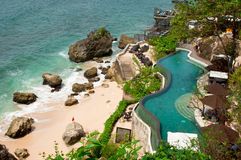 Tropical Infinity Pool. The aerial view of tropical infinity swimming pool overlooking Indian ocean Stock Photography