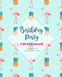 Tropical invitation template with flamingo and pineapple Stock Photo