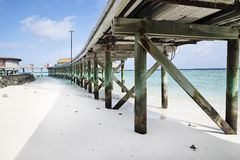 Tropical isand Maldives resort pier royalty free stock photography