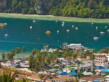 Tropical island. View from the highest point of Ko Phi-Phi island in Thailand royalty free stock image