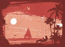 Tropical island. Grunge style tropical island illustration vector Stock Photo