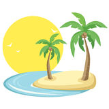 Tropical island. With birds, sun and palm trees in vector format Stock Photo