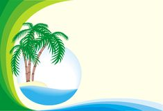 Tropical island. Frame from blue and green band and tropical island in the ocean Stock Photo