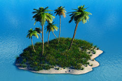 Tropical island. With palms and ocean Vector Illustration