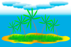 Tropical island. With palms and grass Stock Photography