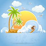 Tropical Island. With palms and surfing on waves, illustration Stock Photo