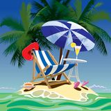 Tropical island. Raster version of vector image of tropical island with beach chair, umbrella and table, fruity cocktail, red hat and shell under the palms Stock Photo