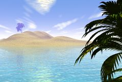 Tropical Island. Digital render of a sandy tropical island. Foreground space for adding text, images etc. if required royalty free illustration