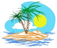 Tropical island. Vector base tropical island illustration Royalty Free Stock Photo