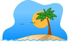 Tropical Island. Illustration, moon, with seagull in the sky Royalty Free Stock Photography