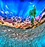 Tropical island. Abstract digital painting. View from underwater on a palm tree. This image created in entirety by me and is entirely owned by me and is entirely Stock Photos
