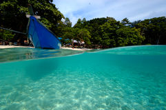 Tropical island aceh indonesia boat. Crystal clear ocean Royalty Free Stock Photos