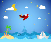 Tropical island and airplane. Illustration of airplane over sea, with tropical island, boats and fish Stock Photography