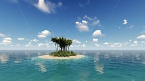 Tropical island. An animation of a tropical island with turquoise sea and blue skies stock video
