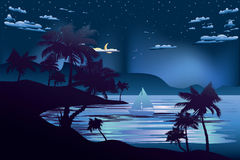 Tropical Island At Night Stock Photo