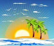 Tropical island. Background with warm tropical island Stock Image