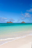 Tropical island beach. Tropical islands on lanikai resort beach in hawaii Stock Photo