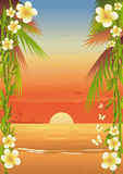 Tropical Island Beach. A tropical beach framed by bamboo branches, plumerias and palm trees stock illustration