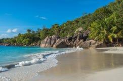 Tropical island beach Anse Lazio, Praslin, Seychelles Royalty Free Stock Images
