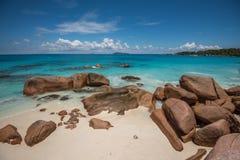 Tropical island beach Anse Lazio, Praslin, Seychelles Stock Photo