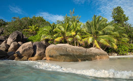 Tropical island beach Anse Lazio, Praslin, Seychelles Royalty Free Stock Photos