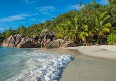 Tropical island beach Anse Lazio, Praslin, Seychelles Royalty Free Stock Photography