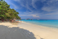 Tropical island beach and clear blue lagoon water with blue sky at Similan Island, Phang Nga Province, South of Thailand Stock Photography